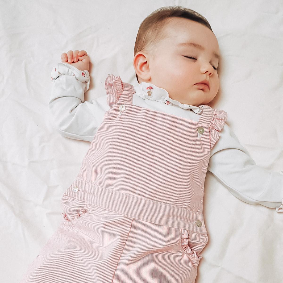 Salopette bébé longue petites rayures rouges