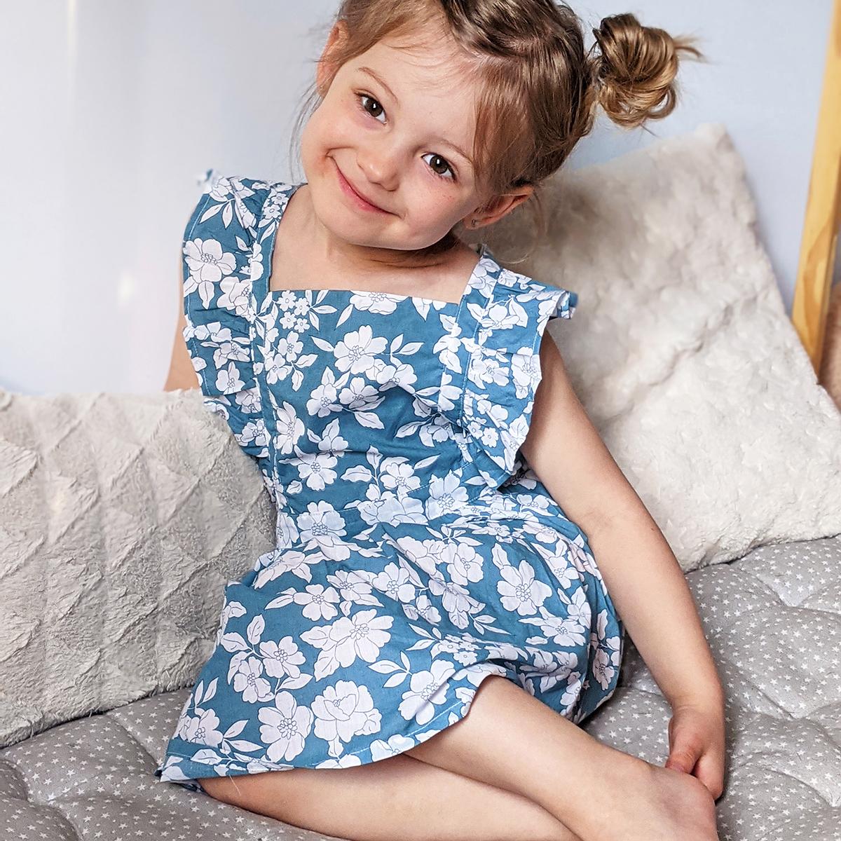 Robe chasuble fille Mimi motif aqua bloom