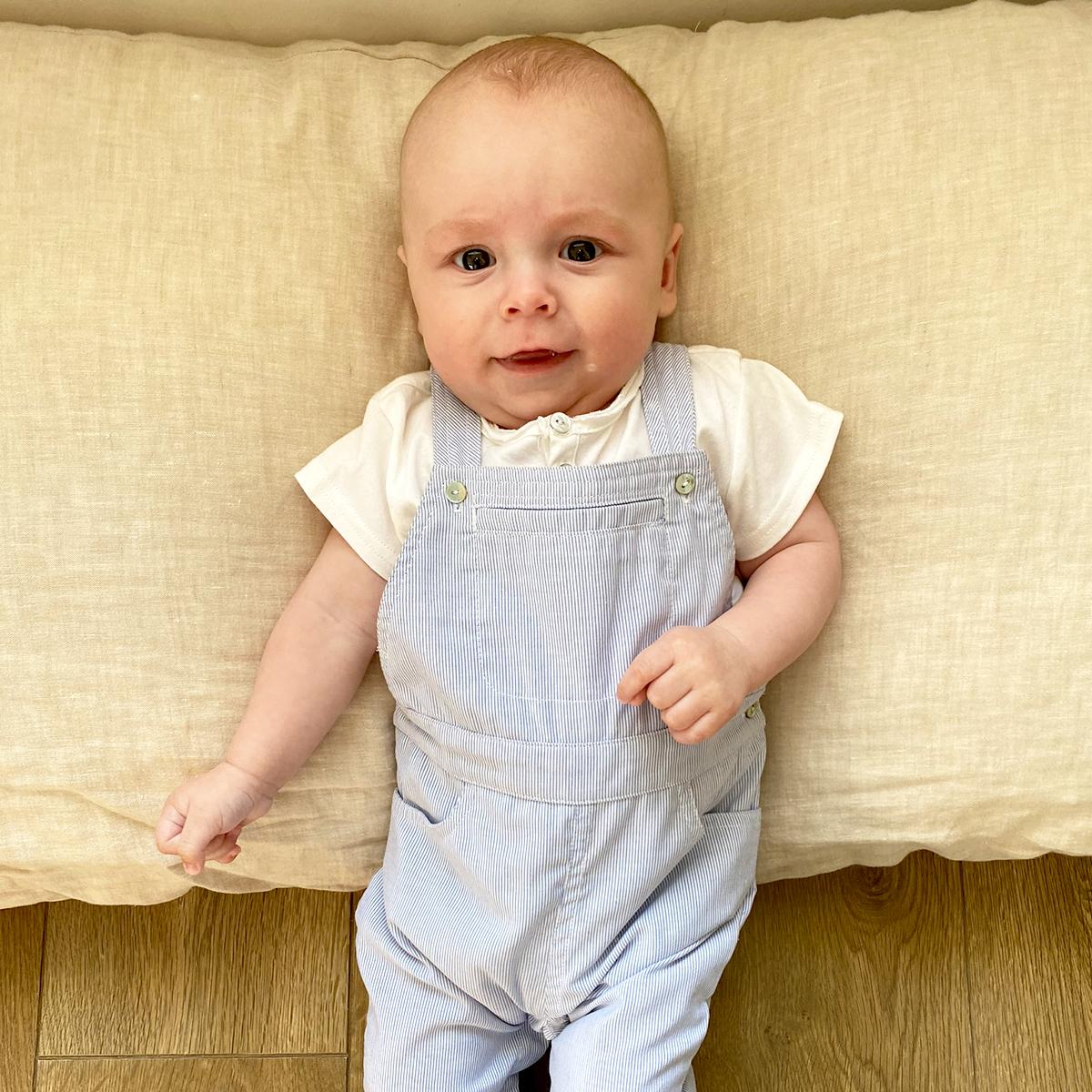 Salopette bébé longue petites rayures bleues