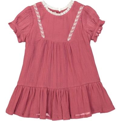 Robe bébé volantée en crêpe rose baroque<br>Existe uniquement en 6 et 12 mois<br>