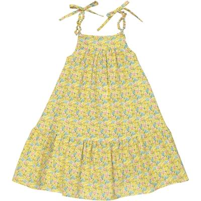 Robe Fille mi-longue à bretelles imprimée fleurs - Kansas