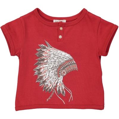 T-shirt bébé garçon rouge imprimé - Coiffe Indien