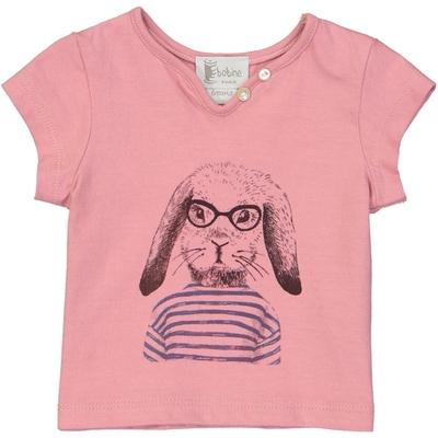 T-shirt bébé fille rose imprimé - Lapin Marin