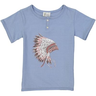 T-shirt garçon bleu jean imprimé - Coiffe d'indien