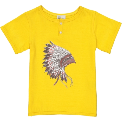 T-shirt garçon jaune imprimé coiffe d'Indien<br>Existe uniquement en 4 ans<br>