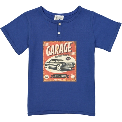 T-shirt garçon bleu - Garage<br>Existe uniquement en 4 et 10 ans<br>