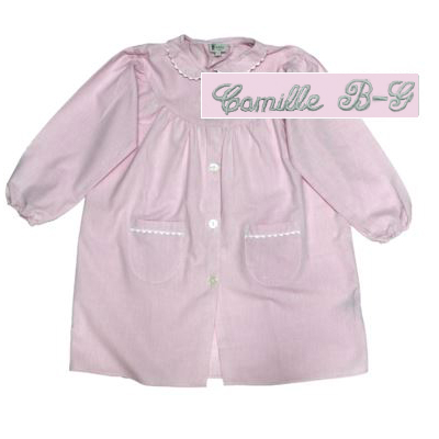 "Tablier col Claudine - Rose - 4 ans - Brodé ""Camille B-G"""