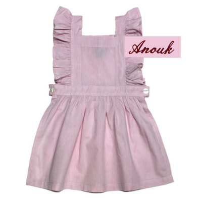 "Tablier chasuble - Rose - 3 ans - Brodé ""Anouk"""