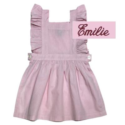 "Tablier chasuble - Rose - 6 ans - Brodé ""Emilie"""