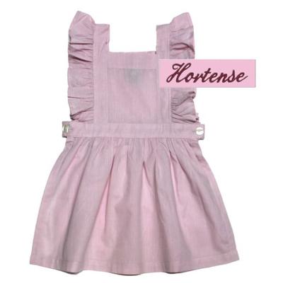 """Tablier chasuble - Rose - 6 ans - Brodé """"Hortense"""""""
