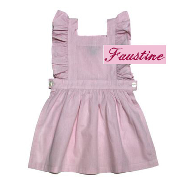 "Tablier chasuble rose - 10 ans - Brodé ""Faustine"""