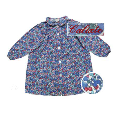 """Tablier col Claudine - fleurs bleues - 3 ans - Brodé """"Calixte"""""""