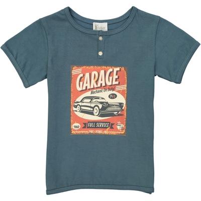 T-shirt garçon bleu canard garage