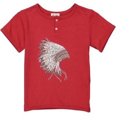 T-shirt garçon rouge imprimé coiffe indien