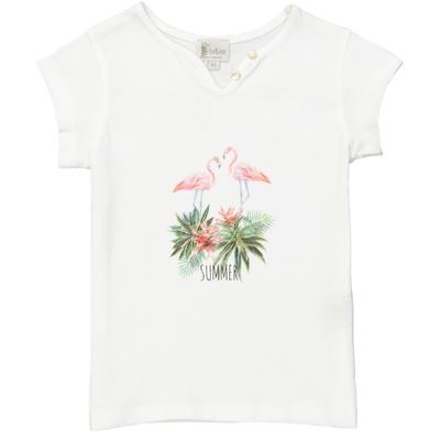 T-shirt fille blanc imprimé dessin flamant