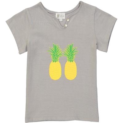 T-shirt fille gris imprimé