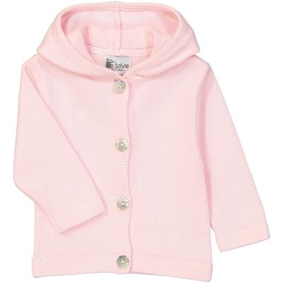 Veste bébé à capuche rose poudre