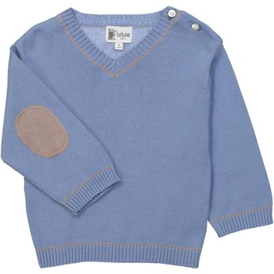Pull bébé col V bleu jean - taupe