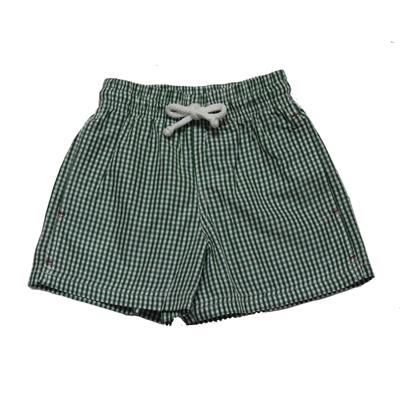 Maillot de bain garçon - Vichy vert et blanc