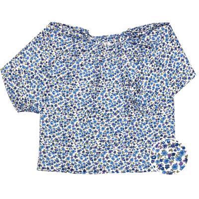Blouse École Maternelle – Bleu fleuri