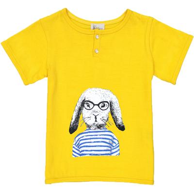 T-shirt garçon jaune imprimé lapin