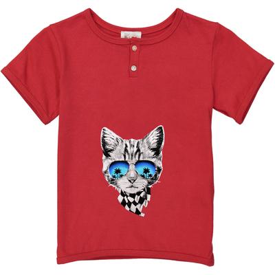 T-shirt rouge - Chat Foulard<br>Existe uniquement en 8 et 12 ans<br>