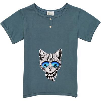 T-shirt garçon bleu canard imprimé chat foulard<br>Existe uniquement en 8 ans<br>