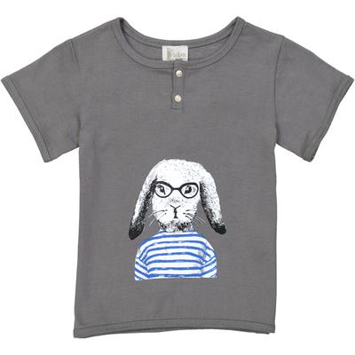 T-shirt garçon gris ardoise lapin<br>Existe uniquement en 10 et 12 ans<br>