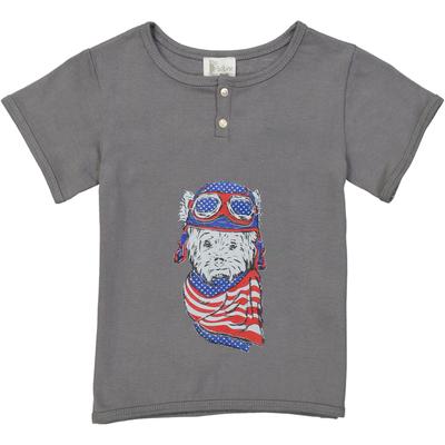 T-shirt gris ardoise - Chien Aviateur