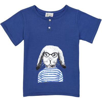 T-shirt garçon bleu sérigraphie lapin