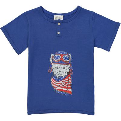 T-shirt garçon chien aviateur - Bleu