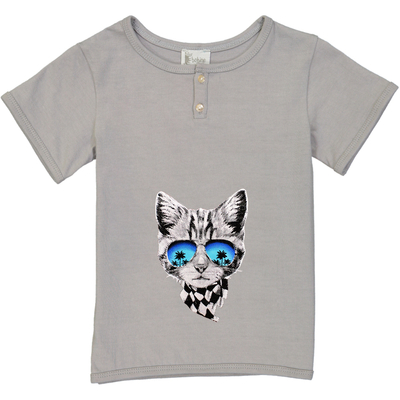 T-shirt garçon gris perle imprimé chat