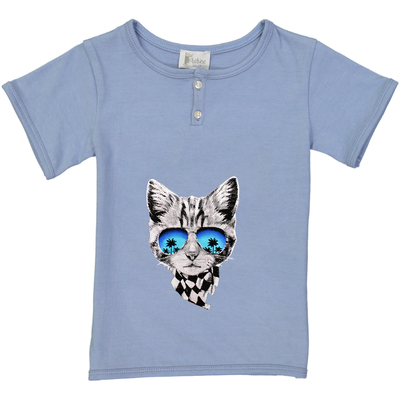 T-shirt garçon bleu jean imprimé chat