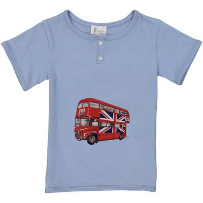 T-shirt garçon bleu jean imprimé - Bus Anglais
