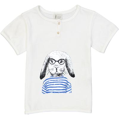 T-shirt garçon blanc imprimé - Lapin Marin