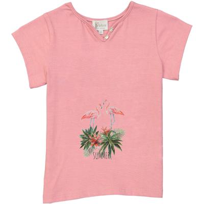 T-shirt fille rose imprimé