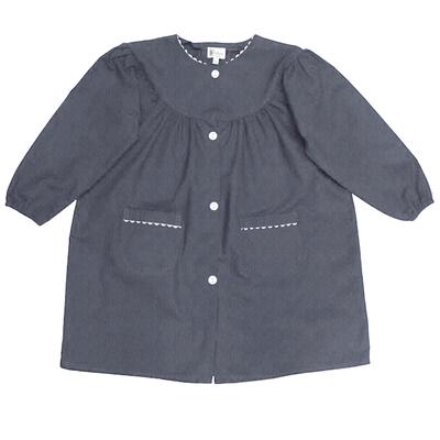 Tablier Ecole Fille Col Rond - Bleu Jean