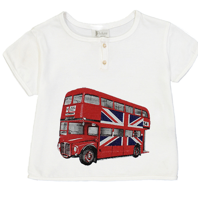 T-shirt bébé garçon blanc imprimé bus anglais