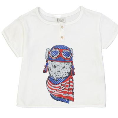 T-shirt bébé garçon blanc imprimé chien aviateur