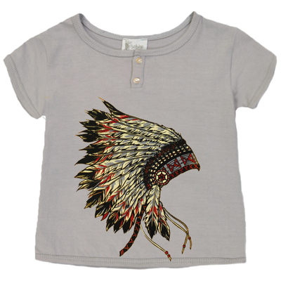 T-shirt bébé garçon gris clair imprimé - Coiffe Indien