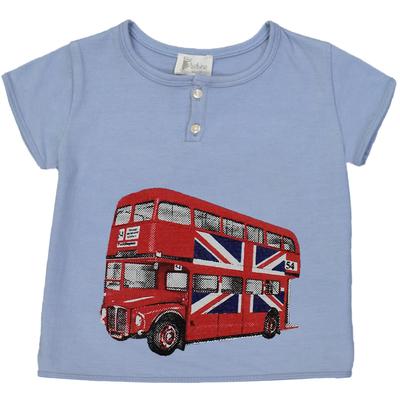 T-shirt bébé garçon bleu jean imprimé - bus anglais