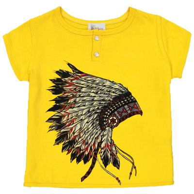 T-shirt bébé garçon jaune imprimé - Coiffe Indien