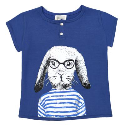 T-shirt bébé garçon bleu imprimé - Lapin Marin