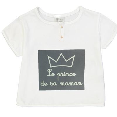 "T-shirt bébé garçon blanc ""Le Prince de sa maman"""
