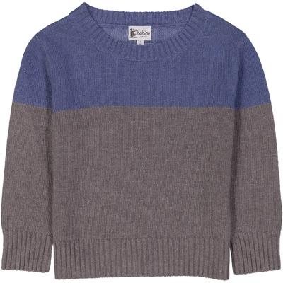 Pull bicolore bleu et gris