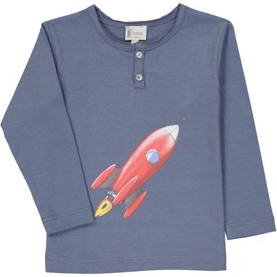 T-Shirt garçon  col tunisien bleu encre fusée
