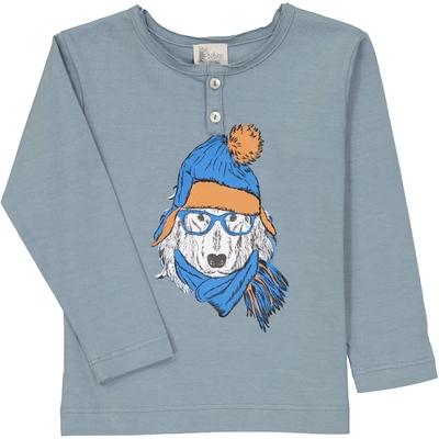 T-Shirt tunisien bleu gris sérigraphie chien