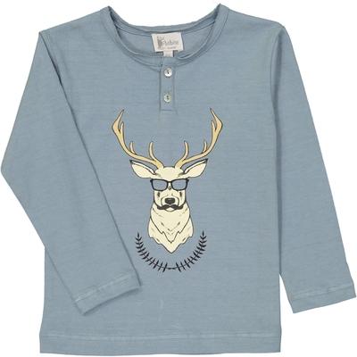 T-Shirt tunisien bleu gris imprimé cerf