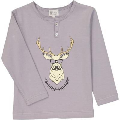 T-Shirt col tunisien gris imprimé cerf