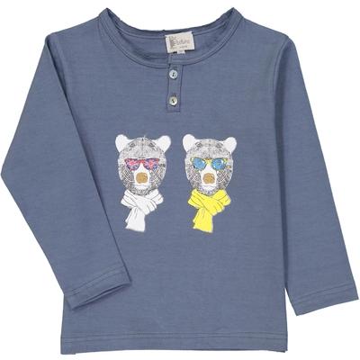 T-Shirt tunisien bleu encre ours à lunettes